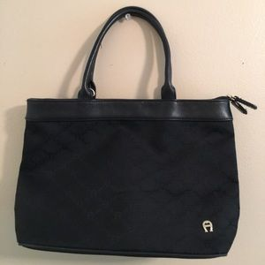 Etienne Aigner Black Canvas Logo Bag/Leather Trim